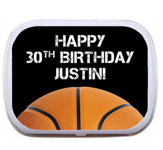 Basketball Party Theme Mint and Candy Tin