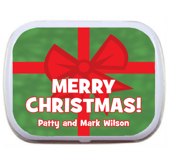 Christmas Photo Theme Bow Mint Tin