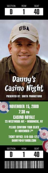 Casino Photo Ticket Invitation