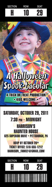 Halloween Photo Ticket Invitation