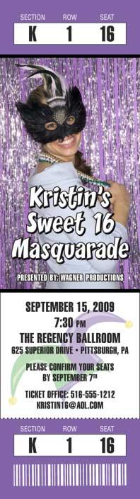 Mardi Gras Photo Ticket Invitation