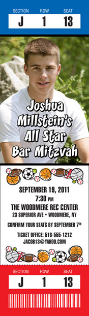 Sports Balls Photo Ticket Invitation