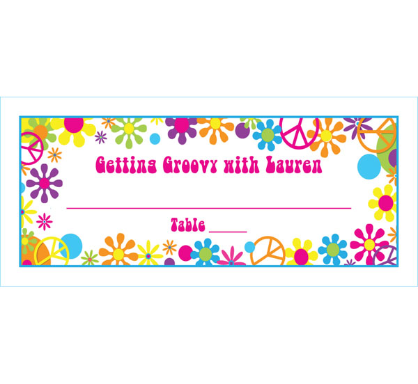Hippie Retro Theme Seating Card