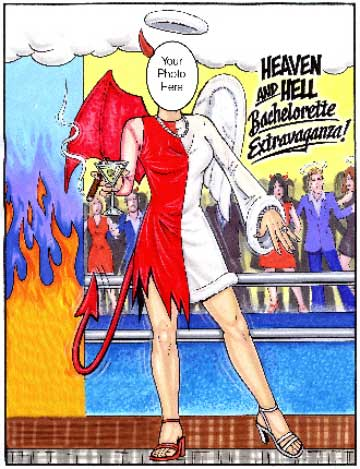 Bachelorette Party Semi Custom Caricature, Heaven and Hell