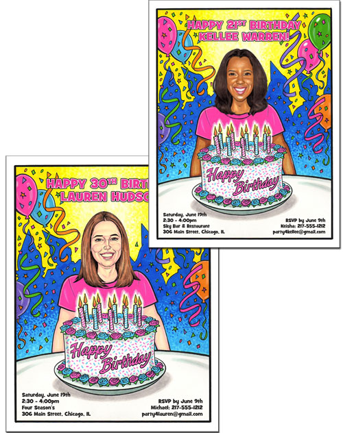 Birthday Semi Custom Caricature, Female