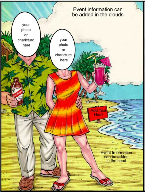 Beach Couple Semi Custom Caricature