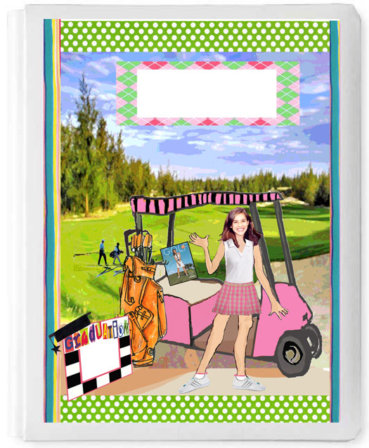 Personalized 3D Sign In Book, Golf Girl