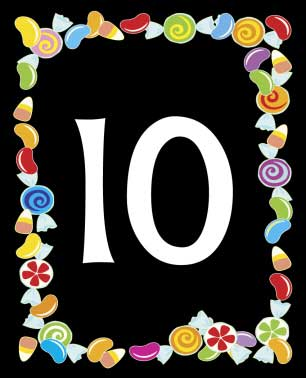 Candy Theme Table Number