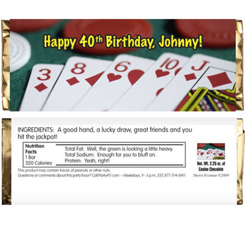 Casino Theme Candy Bar Wrapper