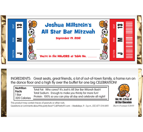 Sports Balls Ticket Theme Candy Bar Wrapper