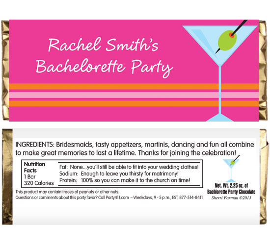 Bachelorette Martini Theme Candy Bar Wrapper