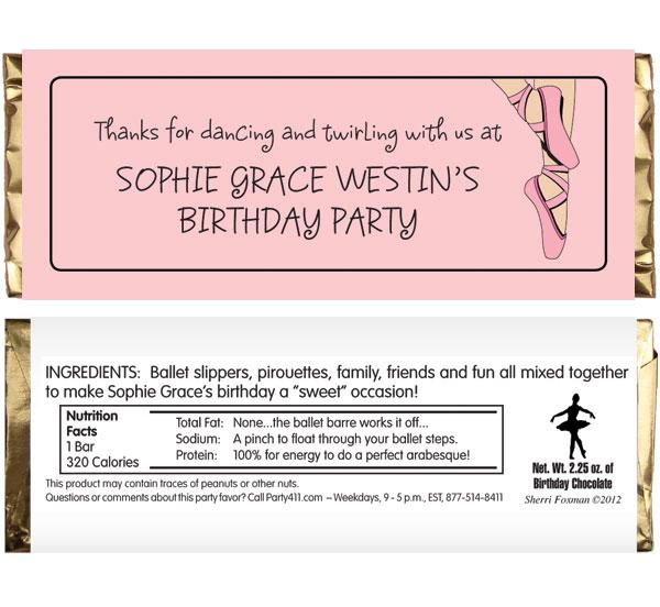 Prima Ballerina Ballet Theme Candy Bar Wrapper