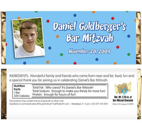 Bar Mitzvah Dots Candy Bar Wrapper