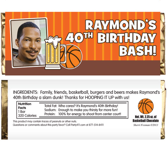 Basketball Celebration Theme Candy Bar Wrapper