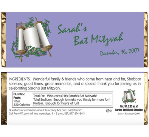 Bat Mitzvah Torah Candy Bar Wrapper