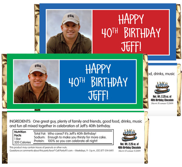 Birthday Age Block Photo Theme Candy Bar Wrapper