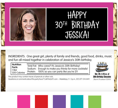 Birthday Age Block Color Pink Theme Candy Bar Wrapper