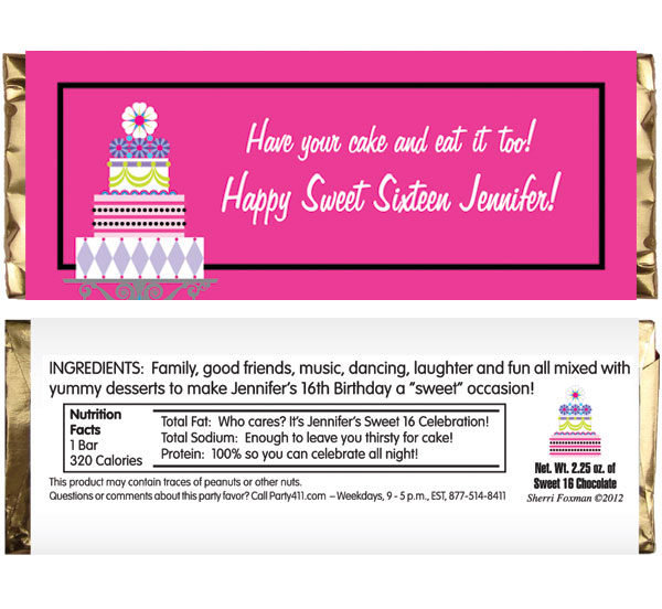 Birthday Cake Sweet 16 Theme Candy Bar Wrapper
