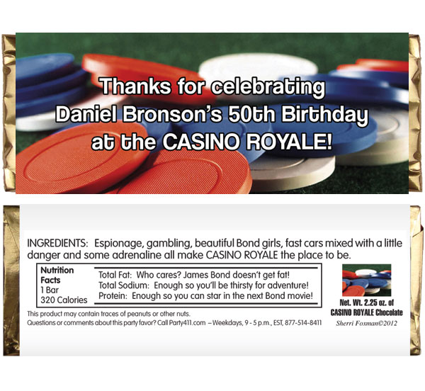 Casino Chips Theme Candy Bar Wrapper