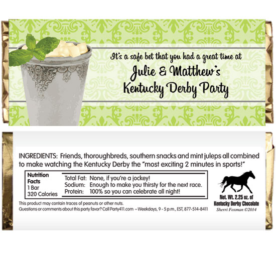 Kentucky Derby Julip Theme Candy Bar Wrapper