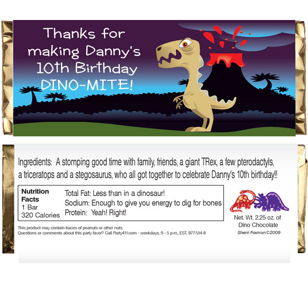Dinosaur Theme Candy Bar Wrapper