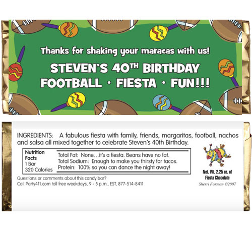 Football Maracas Theme Candy Bar Wrapper