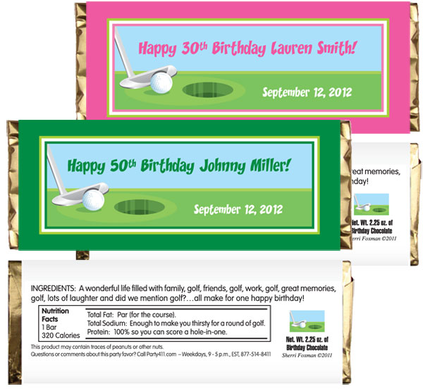 Birthday Golf Theme Candy Bar Wrapper