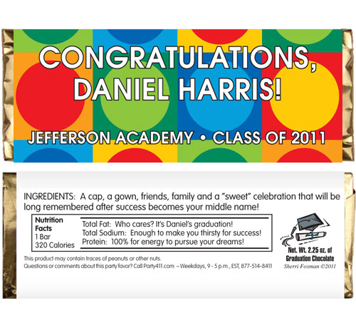 Graduation Colorful Theme Candy Bar Wrapper