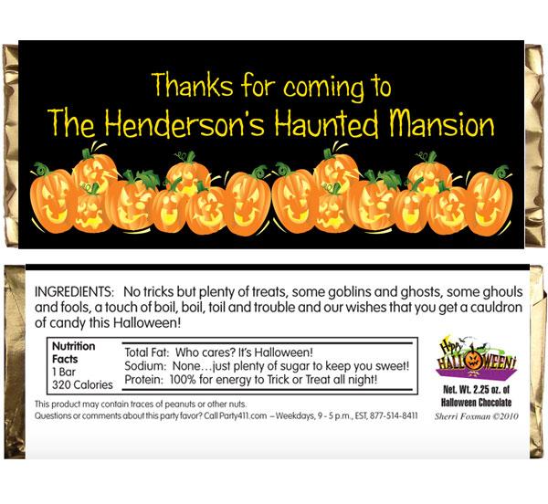 Halloween Fun Pumpkins Theme Candy Bar Wrapper