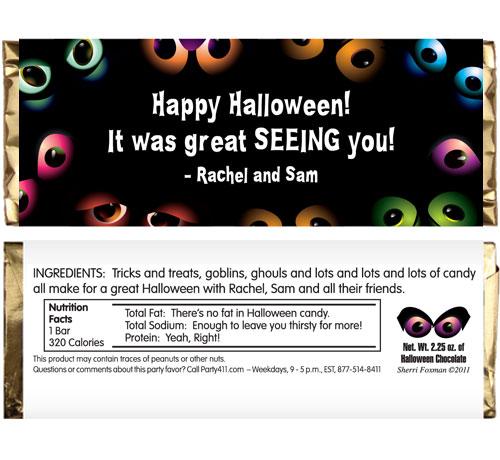 Halloween Eyes Theme Candy Bar Wrapper