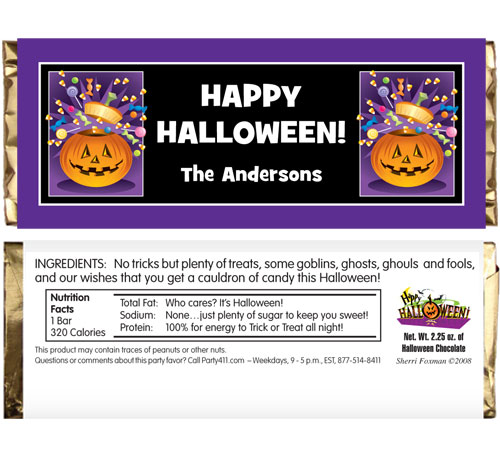 Halloween Pumpkin Fun Theme Candy Bar Wrapper