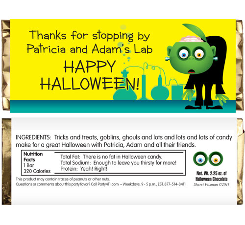 Halloween Lab Theme Candy Bar Wrapper
