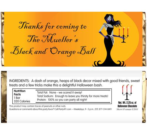 Halloween Ball Theme Candy Bar Wrapper