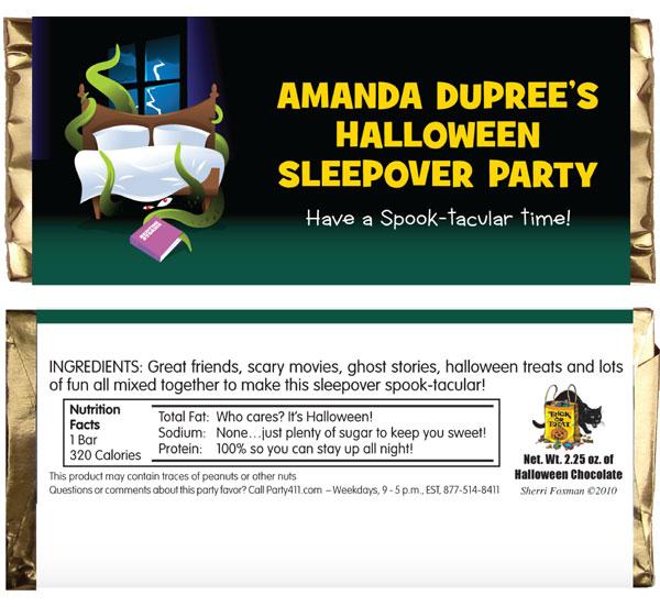 Halloween Sleepover Theme Candy Bar Wrapper