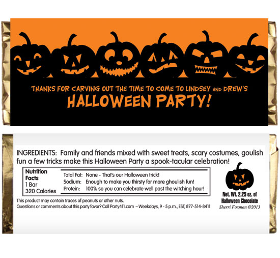 Halloween Jack o Lanterns Theme Candy Bar Wrapper