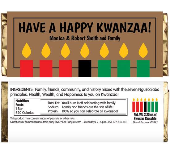 Kwanzaa Kinara Candles Theme Candy Bar Wrapper