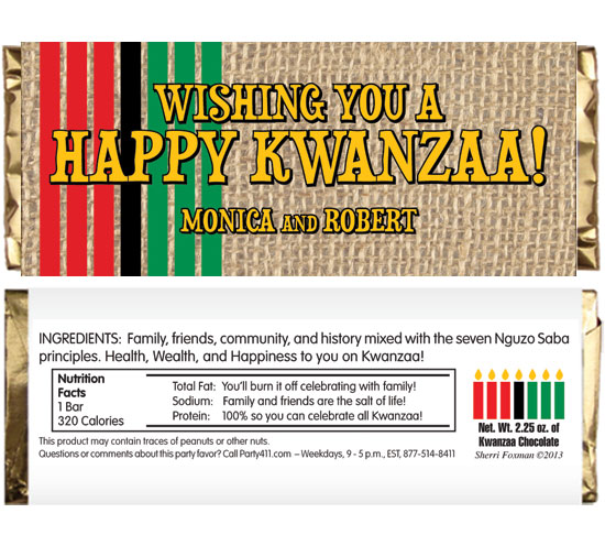 Kwanzaa Party Theme Candy Bar Wrapper