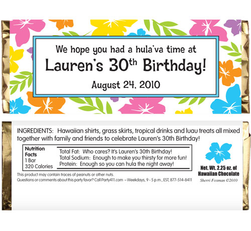 A Luau Hibiscus Theme Candy Bar Wrapper