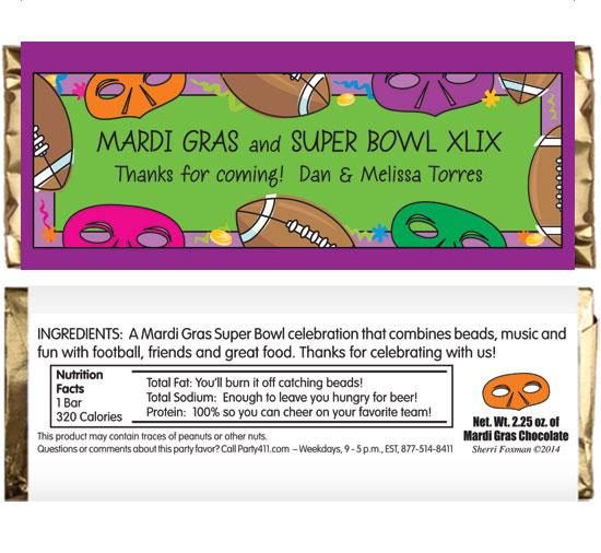 Mardi Gras Super Bowl Theme Candy Bar Wrapper