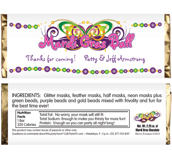 2015 Mardi Gras Ball Theme Candy Bar Wrapper