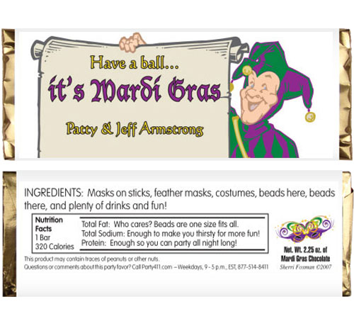 Mardi Gras Jester Theme Candy Bar Wrapper