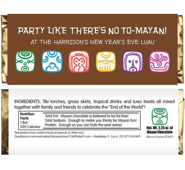 Mayan End of the World Party Candy Bar Wrapper