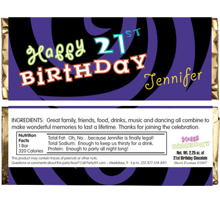 Birthday Swirl Theme Candy Bar Wrapper