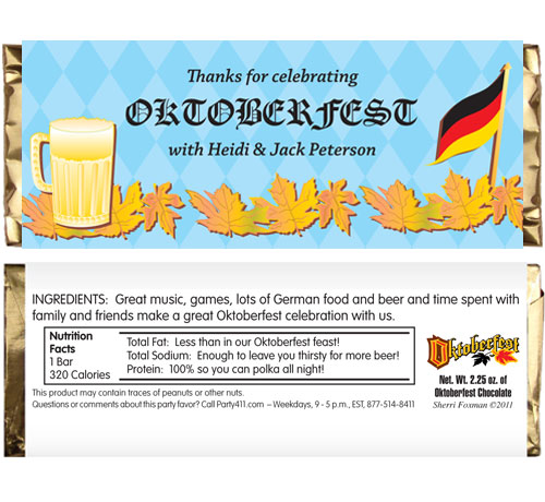 Oktoberfest Party Theme Candy Bar Wrapper