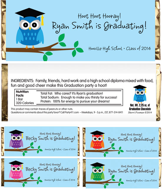 Graduation Owl Theme Candy Wrapper