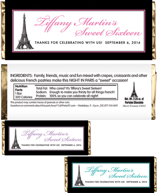Paris Party Theme Candy Bar Wrapper