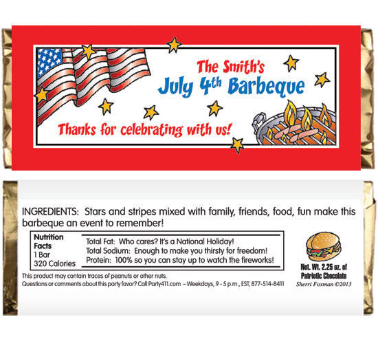 Patriotic Party Barbecue Theme Candy Bar Wrappers