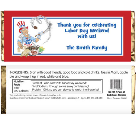 American Patriotic BBQ Theme Candy Bar Wrapper