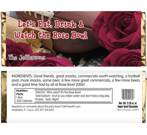 Rose Bowl Football Candy Bar Wrapper