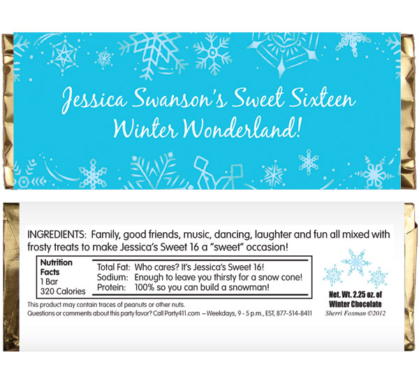 Snow Theme Candy Bar Wrapper